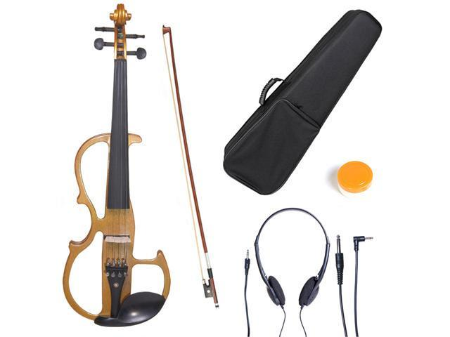 L1/2CEVN-L2Y Size 1/2 LEFT HANDED Electric Silent Solidwood Violin w/ Ebony Fittings in Metallic Maple