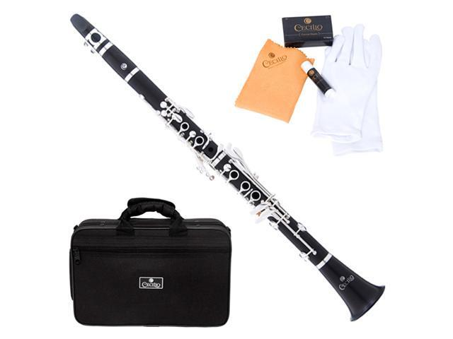 Cecilio 4Series CT-480 Ebony Wood Bb Clarinet w/ Case, Mouthpiece, Box of 10 Reeds, Cork Grease, & a Pair of Gloves