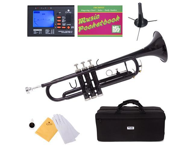 MTT-BK Black Lacquer Brass B Flat Trumpet + Mouthpiece, Tuner, Case, Stand, Pocketbook & Accessories