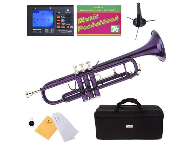 MTT-PL Purple Lacquer Brass B Flat Trumpet + Mouthpiece, Tuner, Case, Stand, Pocketbook & Accessories