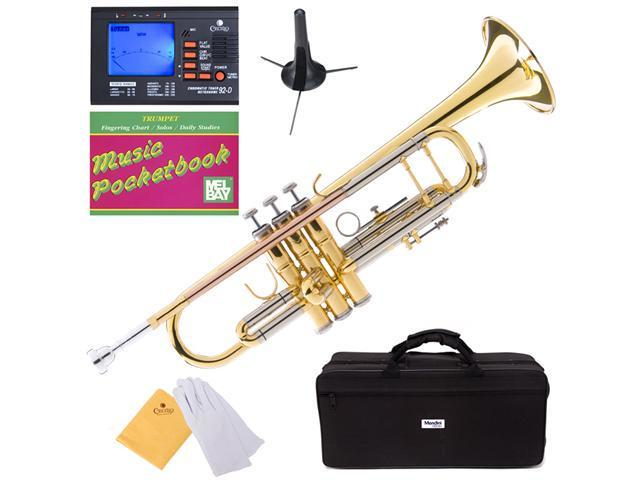 MTT-30GB Lacquer Intermediate B Flat Trumpet w/ Monel Valves + Mouthpiece, Tuner, Case, Stand, Pocketbook & Accessories