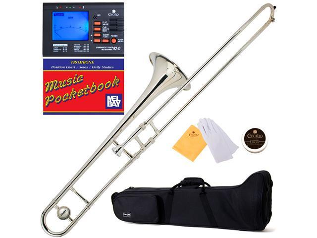 MTB-N Nickel Plated B Flat Slide Trombone + Tuner, Case, Mouthpiece & Accessories