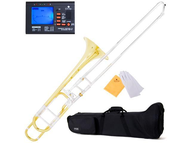 MTB-31 Yellow Brass Intermediate B Flat Slide Trombone w/ F Trigger + Tuner, Case, Mouthpiece & Accessories