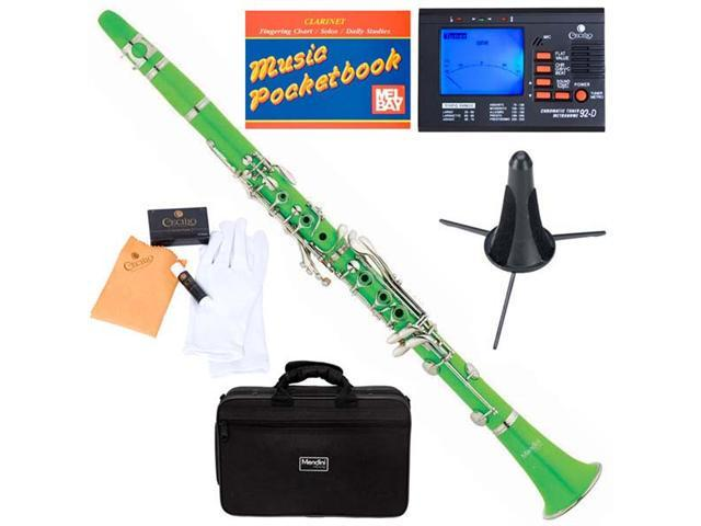 MCT-G B Flat Green ABS Clarinet w/ Case, Tuner, Stand, Mouthpiece, Box of 10 Reeds, Cork Grease, & a Pair of Gloves