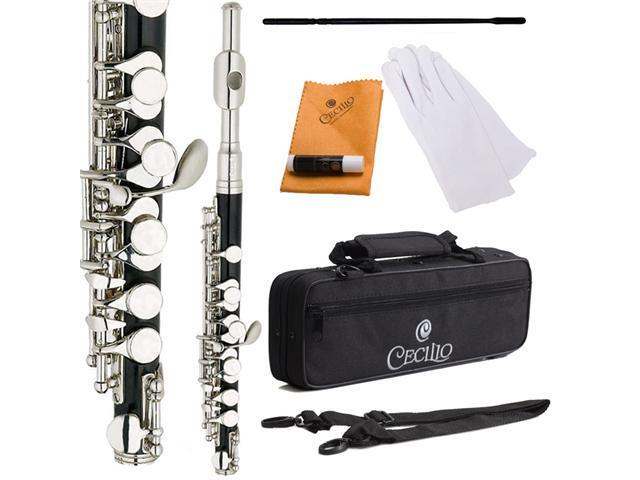 Cecilio 2Series PO-280N C Piccolo with Ebonited ABS Body & Nickel Plated Keys + Case, Gloves, Joint Grease, Cleaning Rod & Cloth