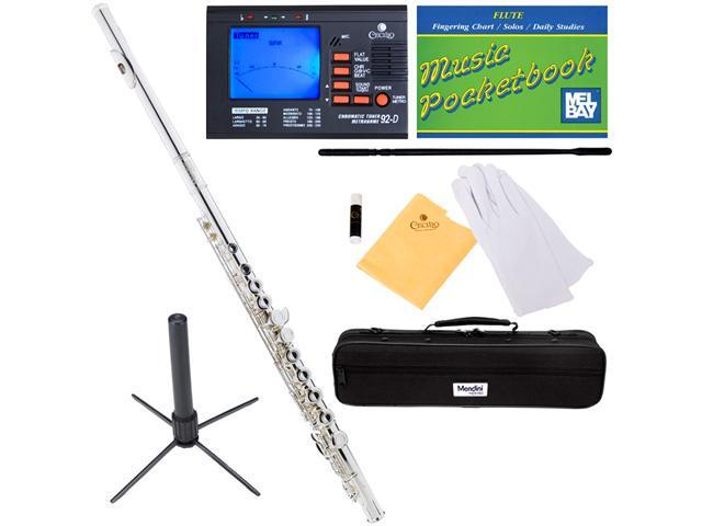 Mendini MFE-S Silver Plated Key of C Closed Hole Flute + Tuner, Case, Stand, Pocketbook & Accessories