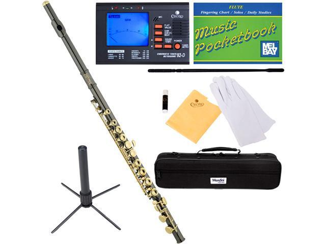 Mendini MFE-BNG Black Nickel Plated Closed Hole Key of C Flute with Gold Keys + Tuner, Case, Stand, Pocketbook & Accessories