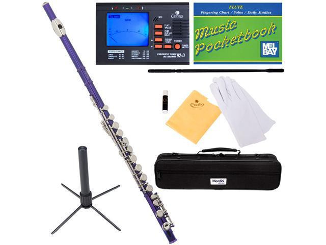 Mendini MFE-PL Purple Lacquered Key of C Closed Hole Flute with Nickel Plated Keys + Tuner, Case, Stand, Pocketbook & Accessories