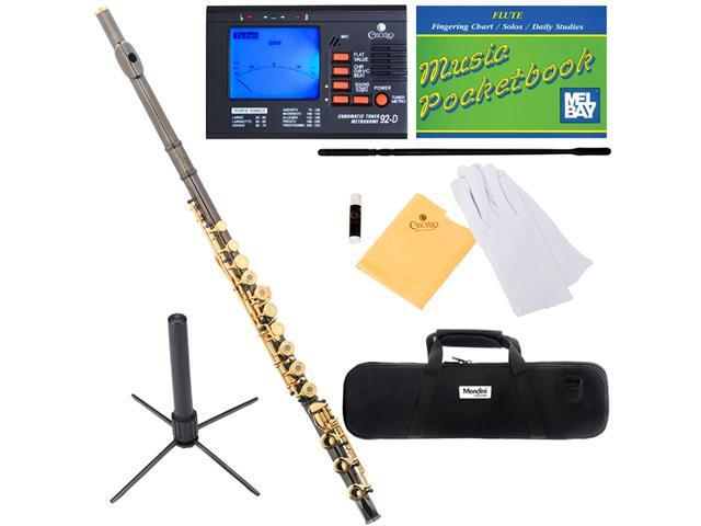 Mendini MFE-30BNG Intermediate Black Nickel Plated & Gold Keys Open / Closed-Hole C Flute with B Foot + Case, Tuner, Stand & More