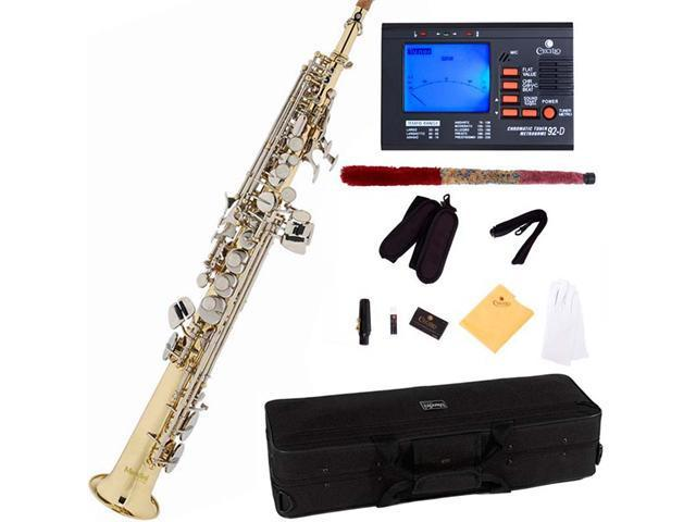 Mendini by Cecilio MSS-LN Gold Lacquer Straight B Flat Soprano Saxophone w/ Nickel Plated Keys+ Tuner, Case, Mouthpiece, 11 Reeds, & More