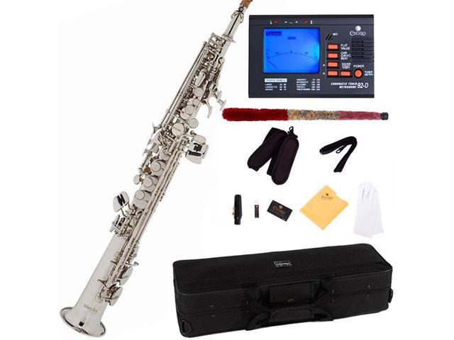 Mendini by Cecilio MSS-N Nickel Plated Straight B Flat Soprano Saxophone + Tuner, Case, Mouthpiece, 11 Reeds, & More