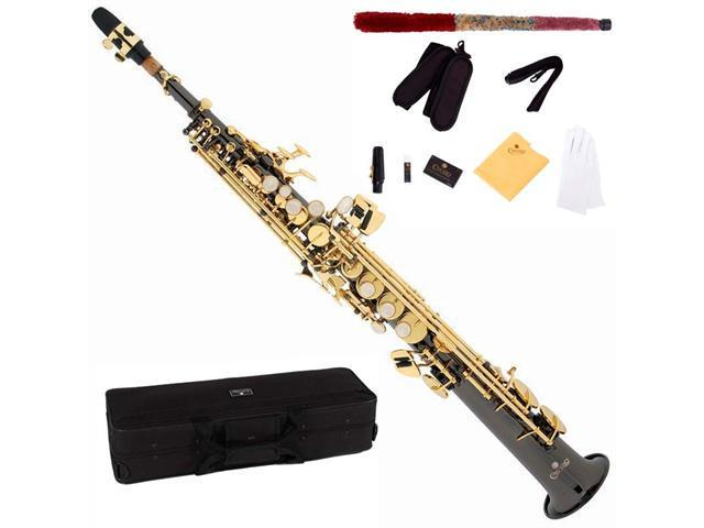 Cecilio 2Series SS-280BNG Black Nickel Plated Straight Bb Soprano Saxophone with Gold Keys + Case, Mouthpiece, 11 Reeds, & More