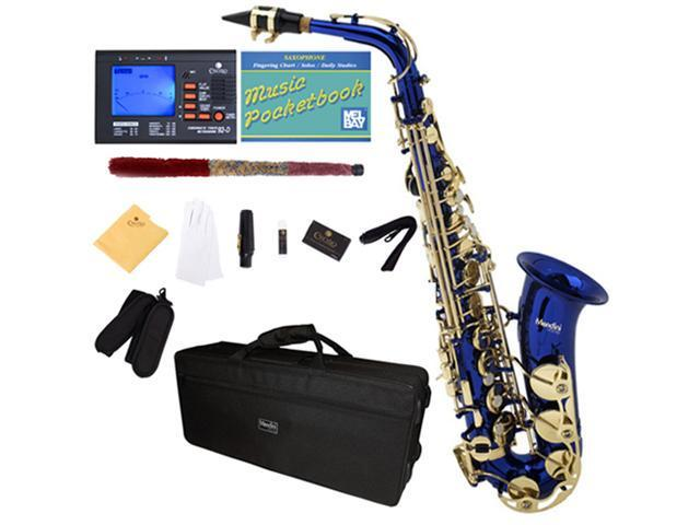 Mendini by Cecilio MAS-BL+92D+PB Blue Lacquered E Flat Alto Saxophone with Tuner, Case, Mouthpiece, 10 Reeds and More