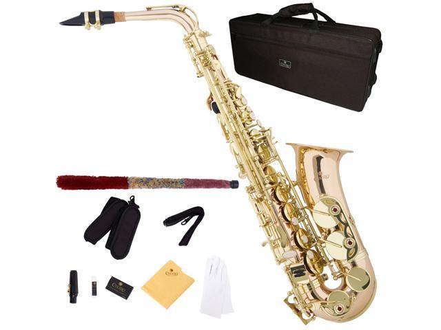 Cecilio 3Series AS-380 Rose-Brass Intermediate Eb Alto Saxophone with Gold Keys + Deluxe Case, 4C Mouthpiece, Box of Reeds, & More