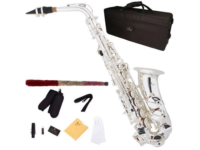 Cecilio 3Series AS-380S Silver Plated Intermediate Eb Alto Saxophone + Deluxe Case, 4C Mouthpiece, Box of Reeds, & More