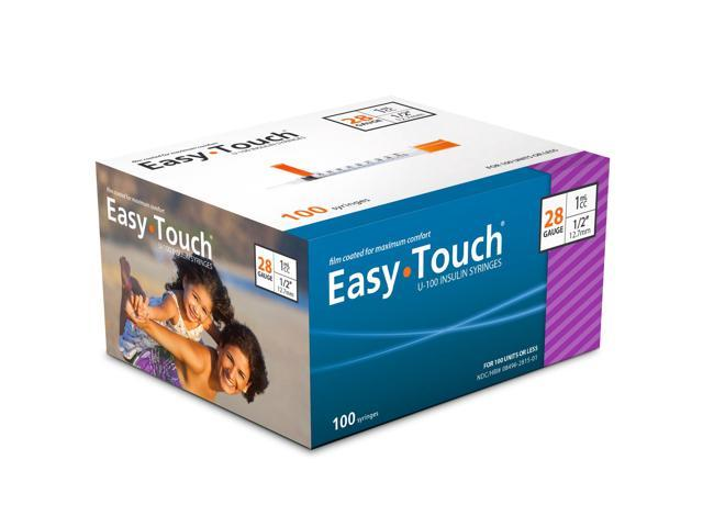Easy Touch Insulin Syringes 28 Gauge 1cc 1/2 in - 100 ea