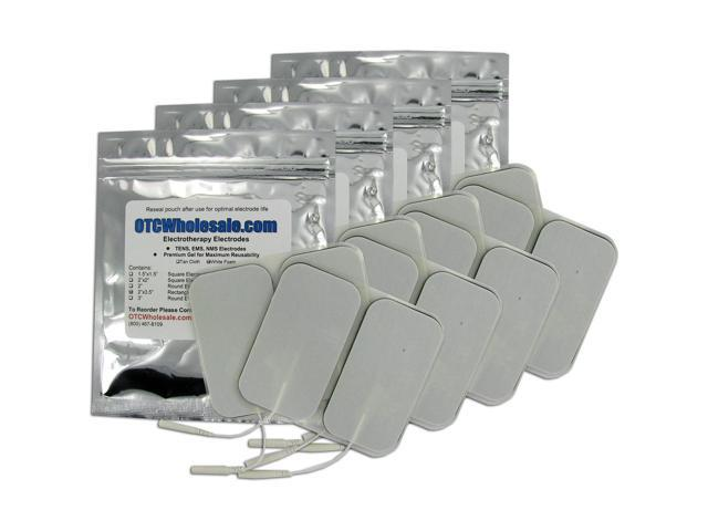 TENS Unit Electrode Pads, White Foamed Backed, 2x3.5 inch Rectangle - 4 ea