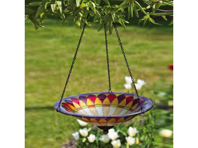 Tiffany Inspired Hanging Petal Glass Bird Bath