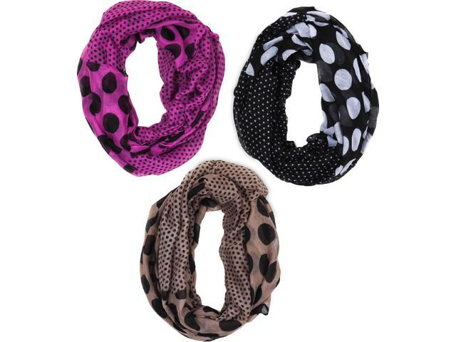 Polka Dot Infinity Scarves In Black Taupe And Purple Set of 3