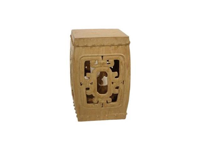 Square Medallion Garden Stool in Camel