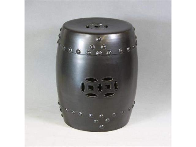 Charcoal Black Ceramic Garden Stool Newegg Com