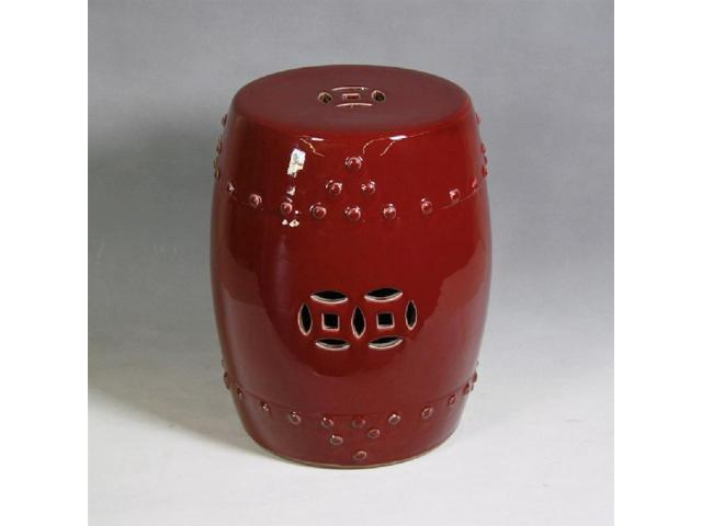 Oxblood Red Ceramic Garden Stool