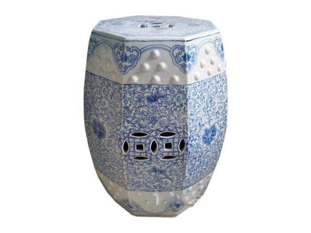Chinese Ceramic Garden Stool Blue White Hexagonal Lotus