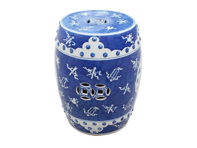 Oriental Ceramic Garden Stool Blue White Ancient Pattern