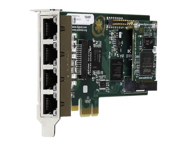 Digium 1TE435BF Four (4) Span Digital T1/E1/J1/Pri PCI-Express X1 Card