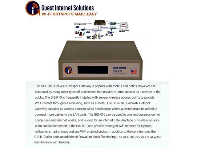 Guest Internet GIS-R10 Internet Hotspot Gateway 250 users dual WAN dual VLAN