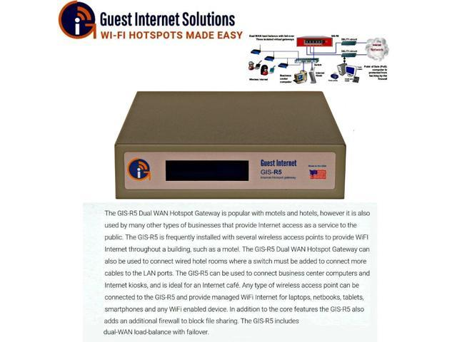 Guest Internet GIS-R5 Internet Hotspot gateway up to 100 concurrent dual-WAN