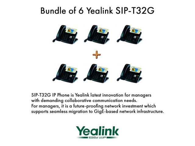 Yealink SIP-T32G Bundle of 6 Gigabit Color LCD IP Phone 3 lines PoE XML Browser