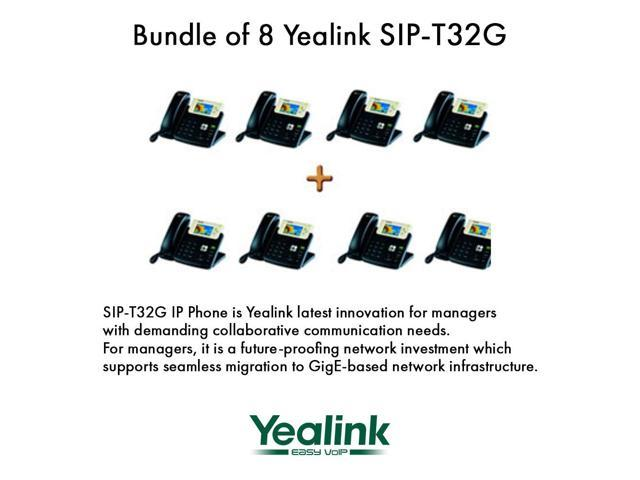 Yealink SIP-T32G Bundle of 8 Gigabit Color VoIP Phone No Power Supply