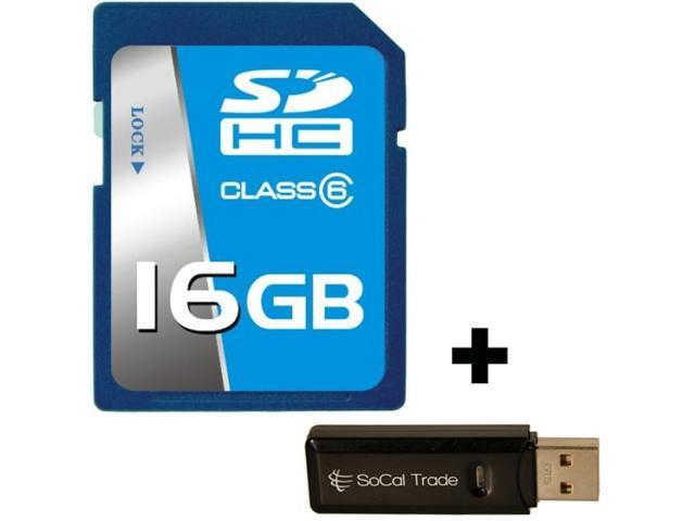 16GB SD HC Class 10 SCT Secure Digital Ultimate Extreme Speed SDHC Flash Memory Card 16G 16 GIGS GB FOR Digital Camera SLR Tablet Computer GPS with SoCal Trade Dual Slot MicroSD XC & SD XC Card Reader