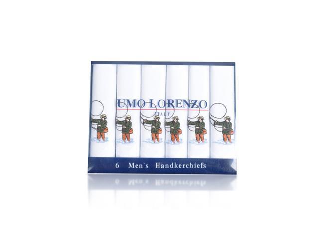 New Men's White Embroidered Fishing Men 6PCS Handkerchiefs MEH5606
