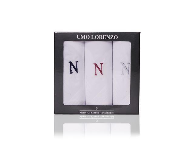 New Men's 100% Cotton Initial Handkerchiefs IH3701-N