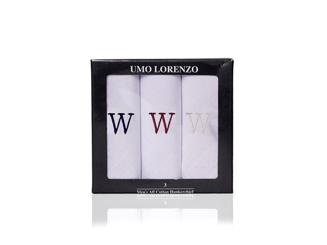 New Men's 100% Cotton Initial Handkerchiefs IH3701-W