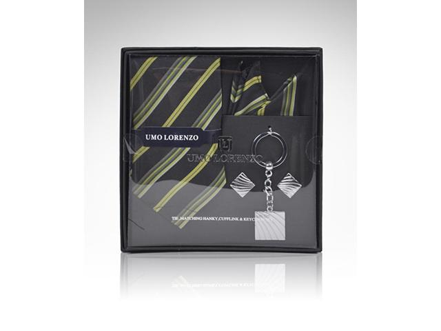 Men's Black And Green Stripes Tie, Hanky, Cufflink, Keychain Set gift box TCK12