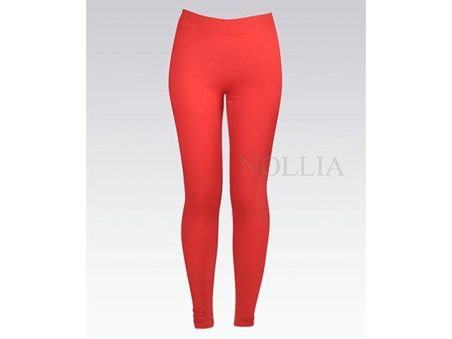 Women's Red Solid Color  Winter Fashion Leggings - 2X - L04235390RD