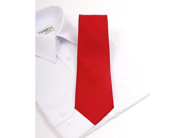 Boy's Red Solid 49 Inch Polyester Tie BLS3301