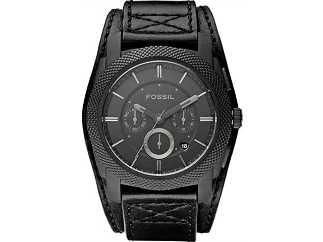 Fossil Machine Black Cuff Leather Mens Watch FS4617
