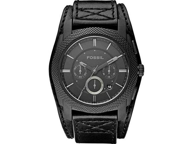 Fossil Machine Black Cuff Leather Mens Watch FS4617