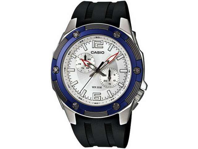 Casio Men's MTP1326-7A2V Black Resin Quartz Watch with Silver Dial