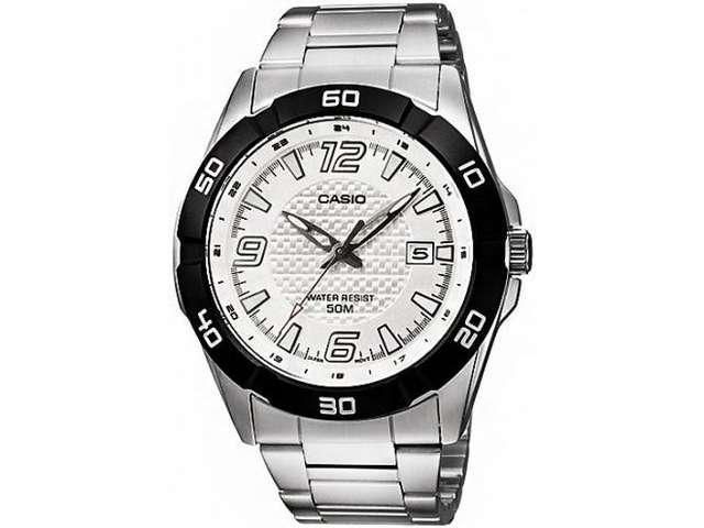 Casio Men's MTP1292D-7AV Silver Stainless-Steel Quartz Watch with White Dial