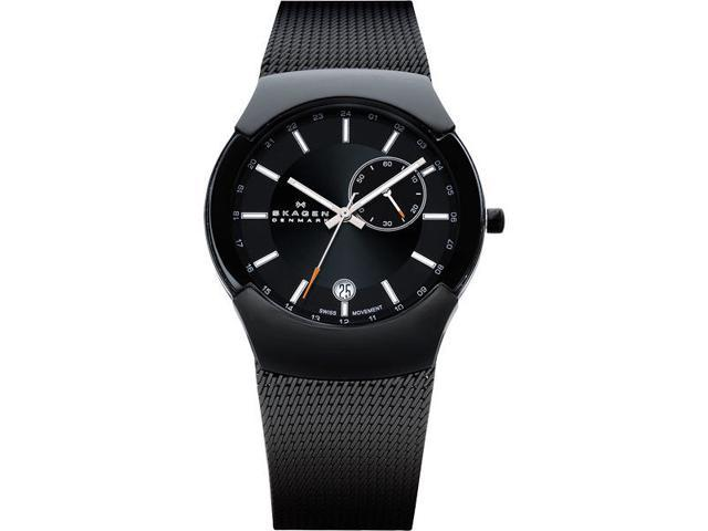 Skagen Black Label Black Dial Stainless Steel Mesh Mens Watch 983XLBB