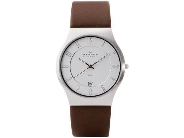 Skagen White Dial Brown Leather Mens Watch 233XXLSL