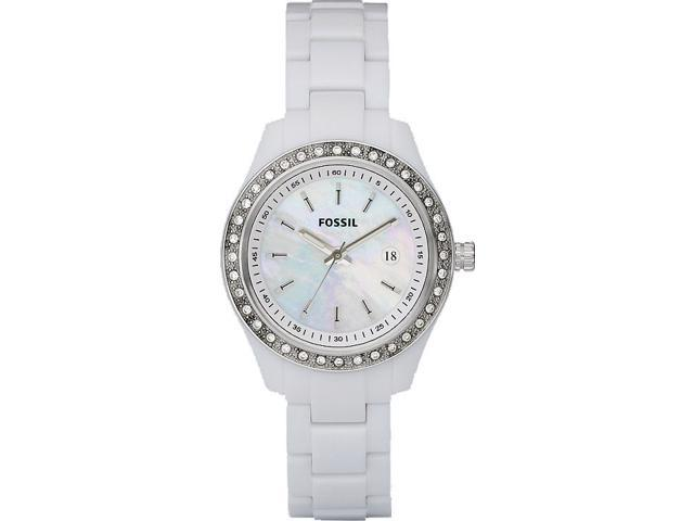 Fossil Stella Mother of Pearl White Plastic Ladies Watch ES2437