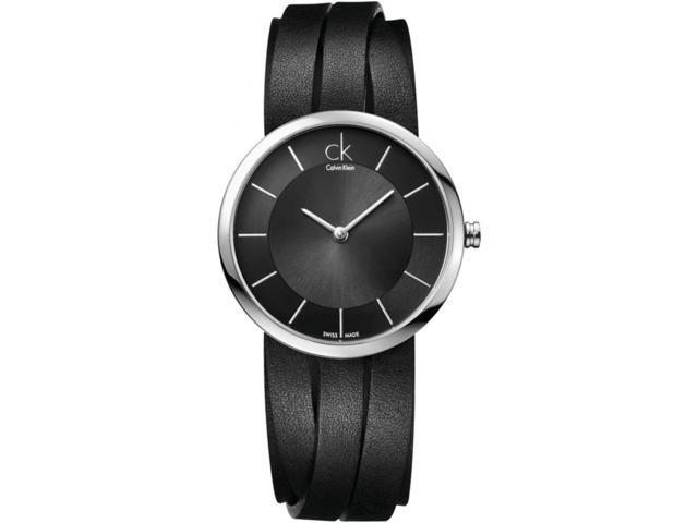 Women's Black Calvin Klein ck Extent Leather Strap Watch K2R2M1C1