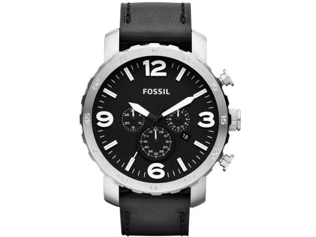 Fossil Nate Chronograph Black Dial Black Leather Mens Watch JR1436