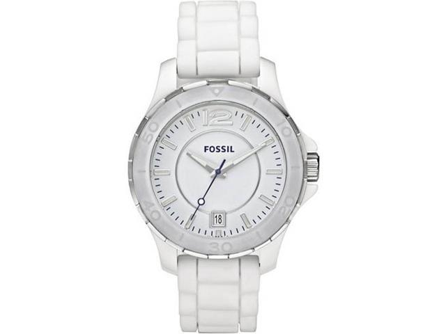 Fossil Ceramic Silicone Strap White Dial Women's watch #CE1034